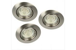 Nordlux Spots à encastrer 3 x LED 6 W COB 230V,Ø9cm,orientable25°,inox,dimmable 78840032